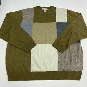 Geoffrey-Beene-Sweater-Mens-4XLT-XXXXLT-Green-Blue-White-Colorblock-Lightweight