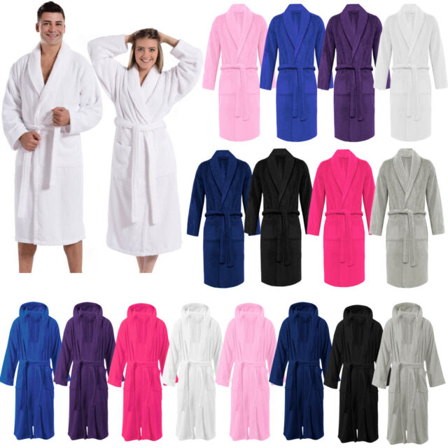 Unisex 100/% Cotton Terry Towelling Bath Robe Hooded Soft Dressing Gown