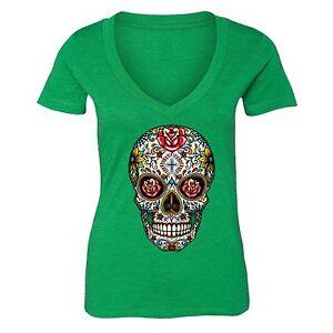 Sugar Skull Day of the Dead Shirt Mexican Flower Dia Los Muertos Tshirt Green