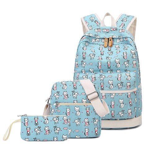 School Backpack Cat Woman Teenage Girl Backpack Student 3pcs Set Pencil Case
