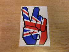 Peace Hand - sticker bomb / rat look - decal 4in (100mm) - Union Jack / Britain