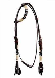 Western-Dark-Oil-One-Ear-Rawhide-Braided-Headstall