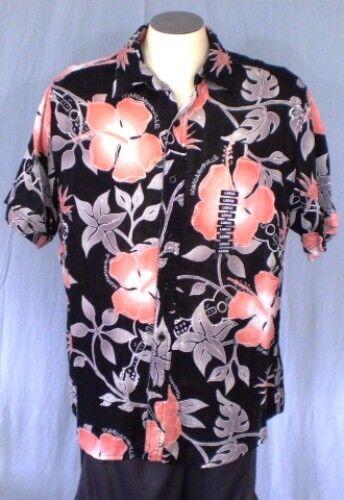 Margaritaville Negro  Grande Camisa Hawaiana Diseño Floral Nuevo con etiquetas de algodón  punto de venta