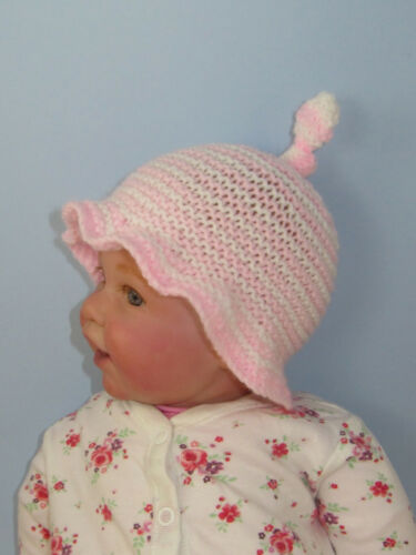 PRINTED INSTRUCTIONS BABY SIMPLE STRIPE TOPKNOT SUNHAT HAT KNITTING PATTERN