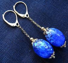 vintage art deco GOLD vermeil blue foiled glass bead drop pierced earrings -D202