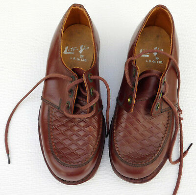 Vintage childrens shoes UNUSED c 1930s Leather soles LITE-SHU lace-ups size 12