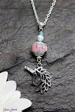 Glass Jewels Einhorn Unicorn Anhänger Silber Perlen Lampwork Rosa Blau #MA029
