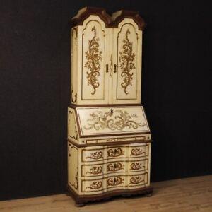 Trumeau-laccato-scrittoio-credenza-ribalta-mobile-in-legno-dorato-stile-antico