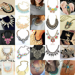 Lot-Charm-Jewelry-Chain-Pendant-Crystal-Choker-Chunky-Statement-Bib-Necklace