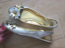 J CREW Collection Gold Flower Genuine Leather Sling back Flats Shoes Sz 9 Italy