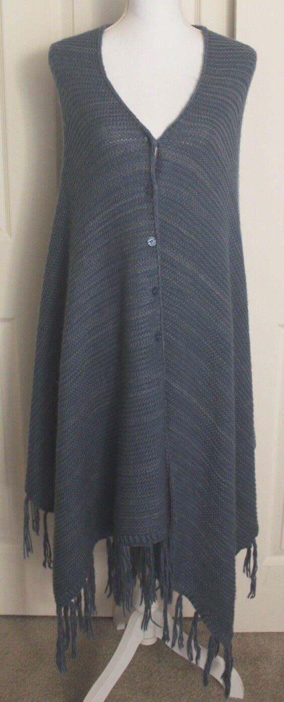 Lularoe Mimi bluee Cape Knit Shawl Fringe Button Up Sweater Poncho One Size
