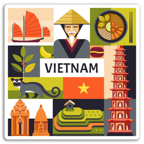 2 x 10cm Vietnam Vinyl Stickers Hanoi Asia Cool Travel Sticker Luggage #17612
