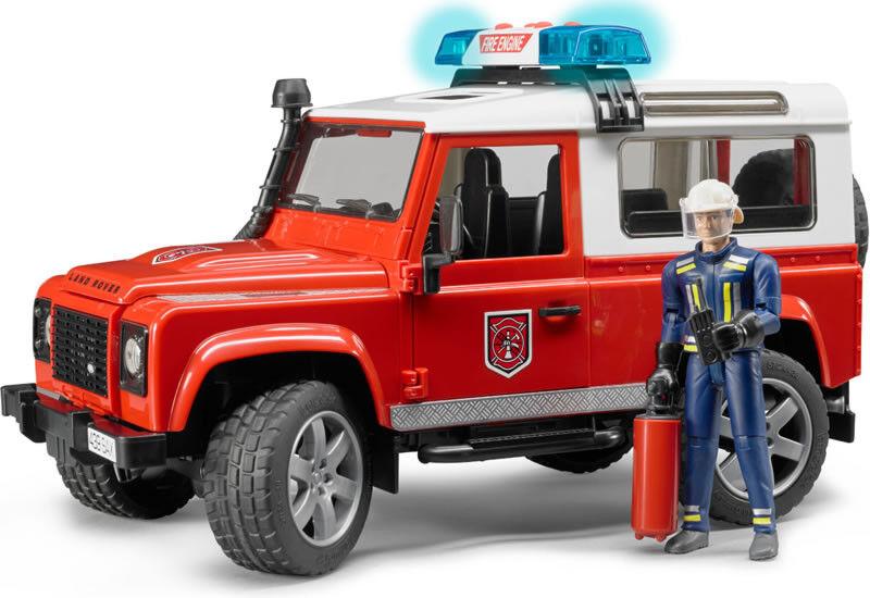 el más barato BRU2596 - Voiture 4x4 LAND ROVER DEFENDER Pompier Pompier Pompier sons et lumières avec pompier  barato y de moda