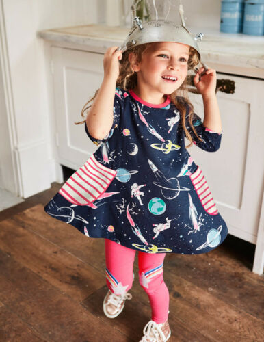 Mini Boden Navy Blue astronaut space stars planets shirt Tunic  4//5 9-10
