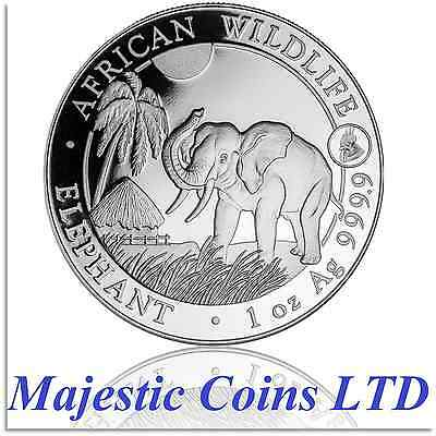 2017 Somalian Elephant 1 oz Silver BU Bullion Capsuled Coin With Rooster Privy