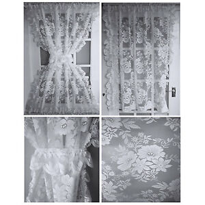 Image Is Loading Amelia Half Door Lace Net Curtains Panels Amp