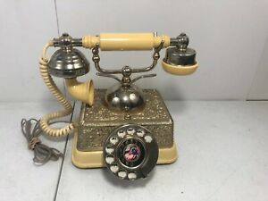 Vintage-French-Victorian-Style-Gold-Brass-Finish-Rotary-Dial-Telephone-Read