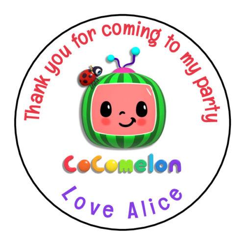 Cocomelon Personalised Pegatinas gracias Bolsa Fiesta De Cumpleaños Dulce Cono