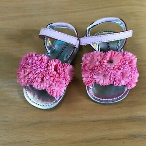 L/'Amour Girls Brown Jeweled Flower Open Toe Sandal