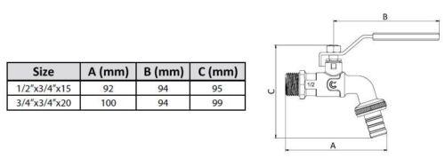 """Resistant Handy Brass Garden Hose Tap 1//2/"""" 3//4/"""" BSP Ball Valve Calido"""