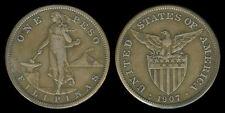 1 Peso 1907-S US-Philippine Silver Coin - Stock # 61