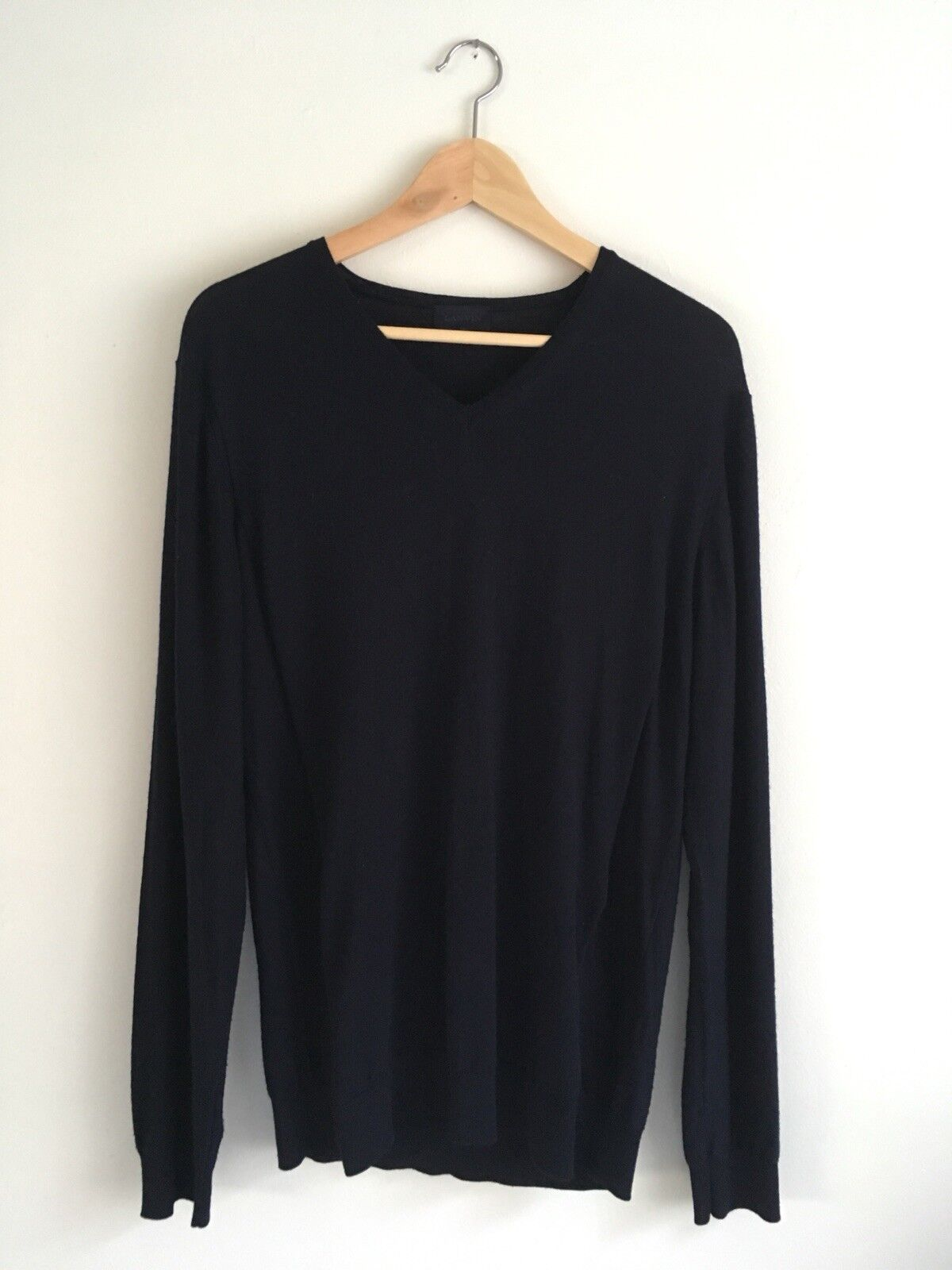 Lanvin Navy Blau V-Neck Merino Wool Sweater Größe Large Made In
