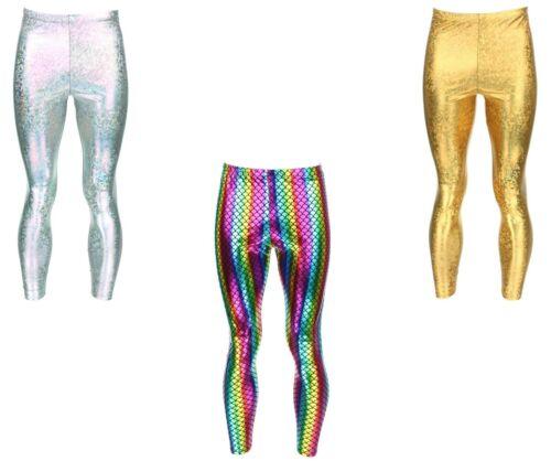 Da Uomo Leggings Rainbow Silver Oro meggings Festival Festa Da Discoteca Lucidi SIRENA