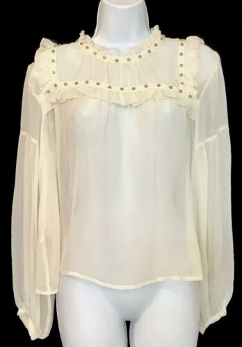 Flannel Silk Blouse Ivory Peasant Style Sheer Sil… - image 1