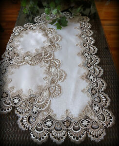 Details About Table Runner Dresser Scarf Taupe Lace Antique White 36 Plus 2 Round Doilies