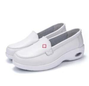 f14b30d854d Womens Slip on Platform Wedge White Nurse Shoes Air Loafers Casual ...