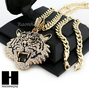 Image Is Loading MENS HIP HOP ICED OUT TIGER PENDANT Amp