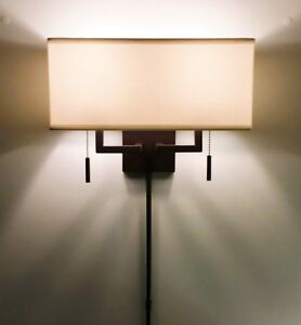 Arch-Bronze-Modern-Wall-Sconce-Light-with-Rect-Shade-Hardwire-or-Plug-In
