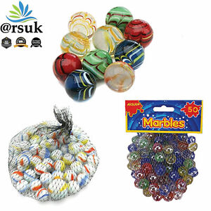 Glass Marbles Assorted Cat's Eye & Milky Coloured Kids Toys Vintage Puzzle Games