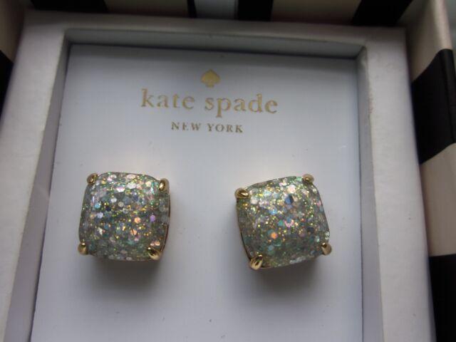 Kate Spade MULTI sparkles OPAL AURORA BOREALIS GOLD cushion stud Earrings NWT