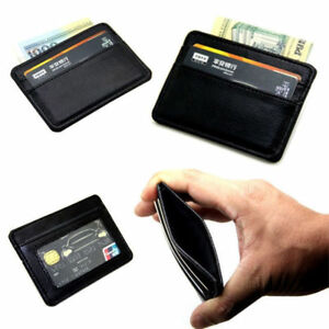 Mens-Leather-Ultra-Slim-Mini-Credit-Id-Card-Note-Case-Wallet-Money-Holder-Black