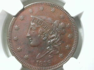 1838-Coronet-Liberty-Large-Cent-Penny-NGC-Certified-1C-AU-Details