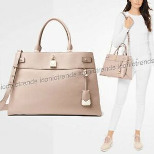 NWT-MICHAEL-KORS-GRAMERCY-LARGE-LEATHER-SATCHEL-TOTE-SOFT-PINK-GOLD