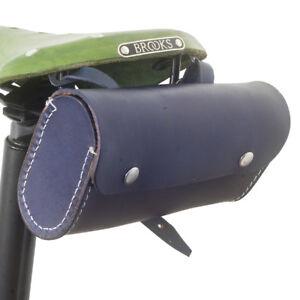 Leather Saddle Bag For Bike NAVY BLUE Limited Edition by London Craftwork L14