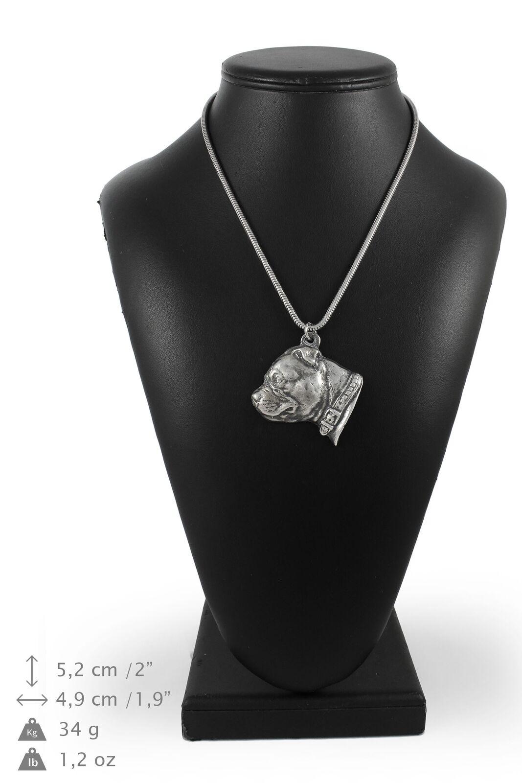 Staffy - argento plaqué collier sur une cordon en argento Art Dog FR