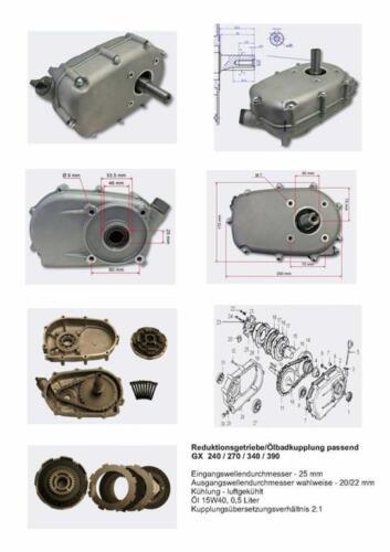 KART Ölbadkupplung Reduktionsgetriebe 2:1 komplett auch GX340 GX390