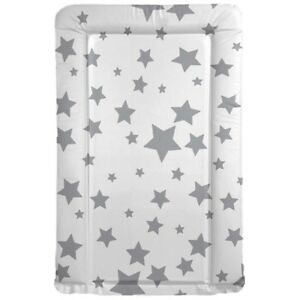 BABY 100/% COTTON CHANGING MAT CHILD NURSERY FOR UNIT BIG WHITE STARS ON GREY