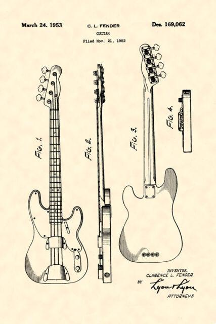 Dark Wood Music Electric Guitar Musical Jazz Rock Vintage Poster Repro FREE S//H