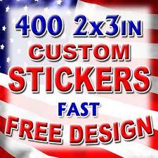 400 2x3 Custom Print Full Color Vinyl Sticker Business Logo Decal Label Die Cut