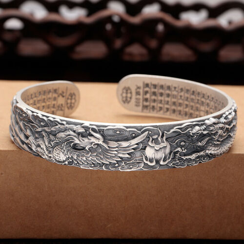 Neuf Solide Argent Sterling 999 12 mm dragon Pheonix Band Femme Bracelet 58 mm Dia.