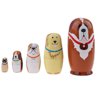 Puppy Dog Animal Stacking Toy Babushka Matryoshka Nesting Dolls W