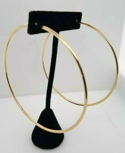 14K Yellow Gold 2MM Endless Hoop Earrings 3 Inches Large Hoops 4.2 Grams