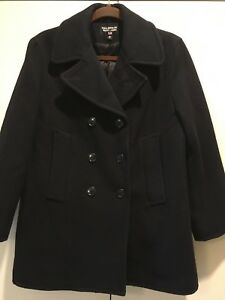 WOMAN-039-S-PEA-COAT-NAVY-BLUE-DOUBLE-BREASTED-WOOL-MADE-IN-USA-SMALL-S