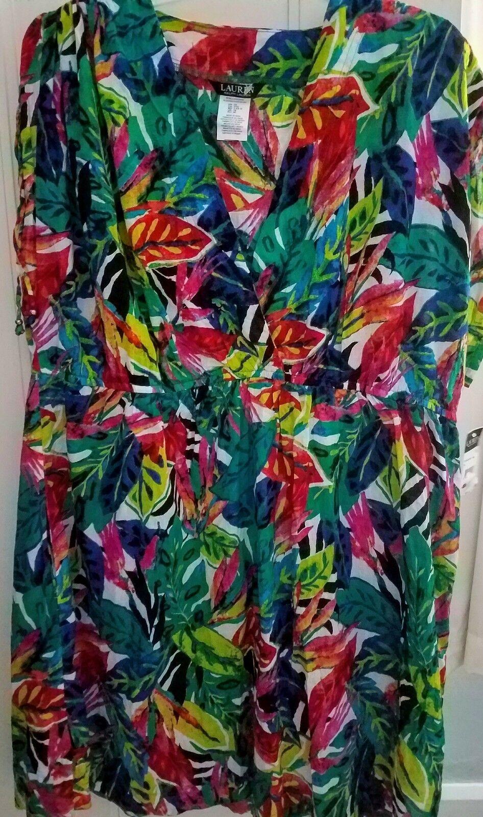 NEW Lauren Ralph Lauren 3X Womens shoulder-tie plunge swim suit cover up dress