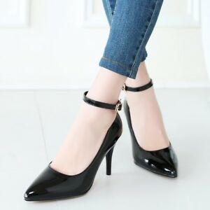 Womens-Pointed-Toe-Stiletto-Heels-Buckle-Pumps-Patent-Leather-Mary-Jane-Shoes-Sz