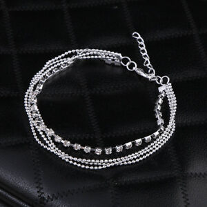 Silver-Beach-Four-Layers-Chain-Lady-Anklet-Barefoot-Foot-Ankle-Lldty-D8K2